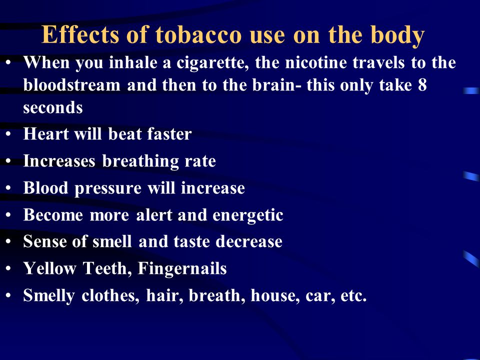 Effects of tobacco use on the body