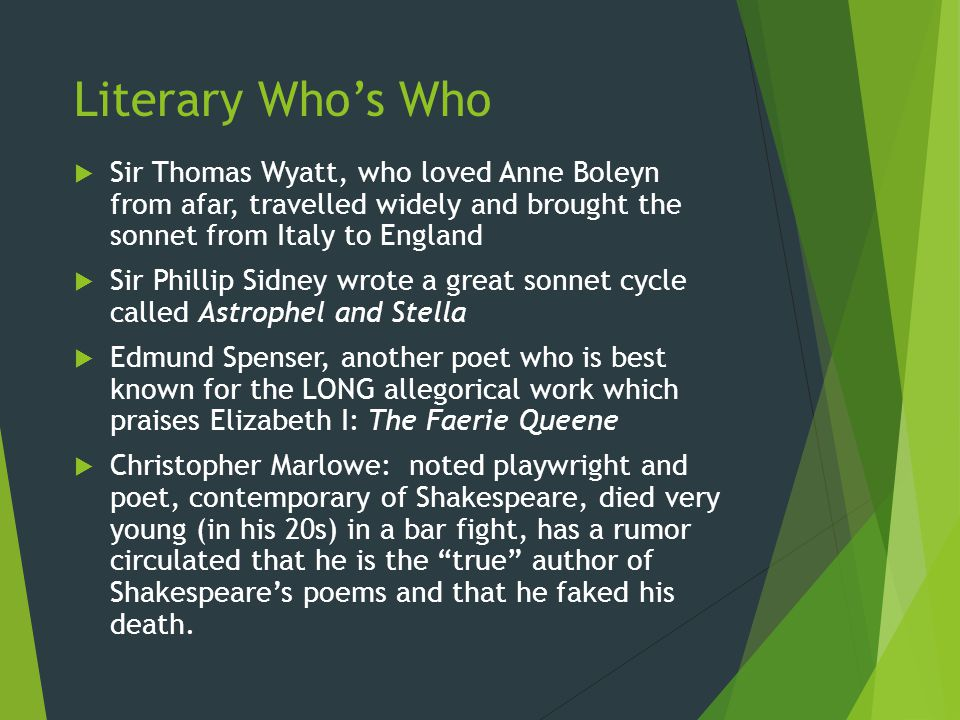 Literary Who's Who Sir Thomas Wyatt, who loved Anne Boleyn from afar, travelled widely and brought the sonnet from Italy to England.