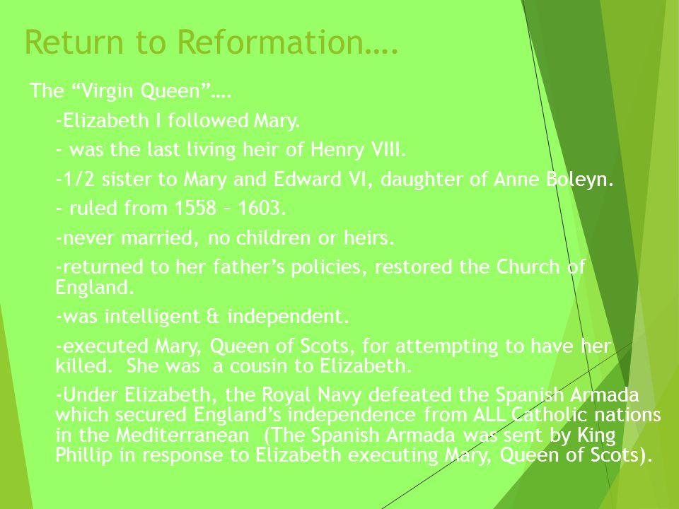 Return to Reformation….