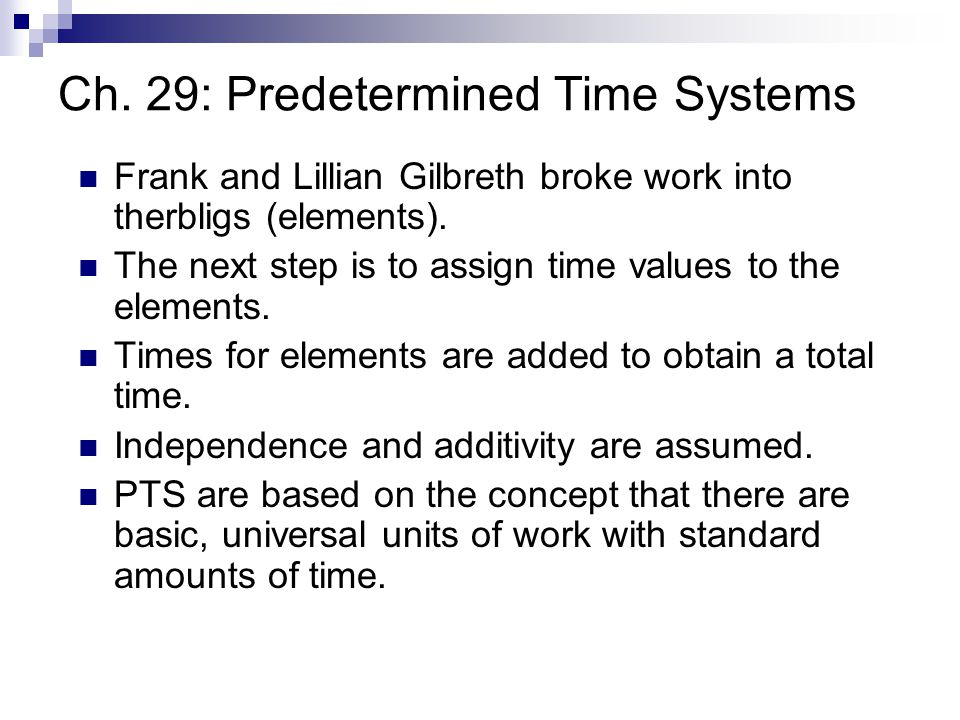 Ch. 29: Predetermined Time Systems