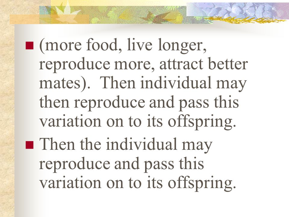 (more food, live longer, reproduce more, attract better mates)