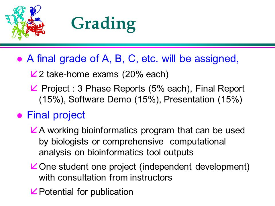 Grading A final grade of A, B, C, etc. will be assigned, Final project