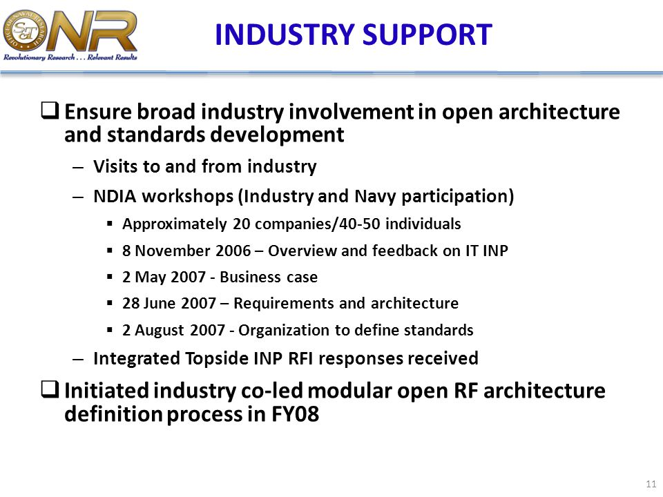 INDUSTRY SUPPORT Ensure broad industry involvement in open architecture and standards development.