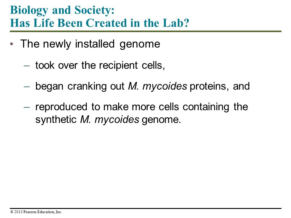Biology and Society: Has Life Been Created in the Lab