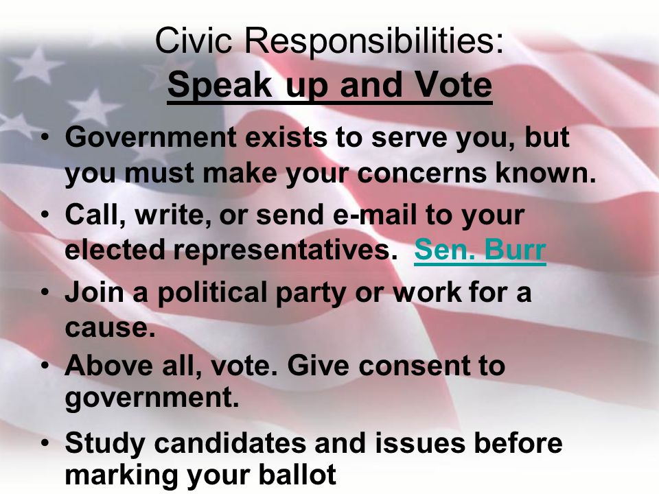 Civic Responsibilities: Speak up and Vote