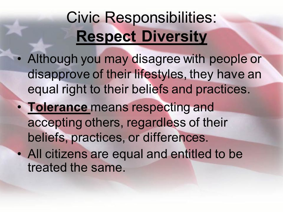 Civic Responsibilities: Respect Diversity