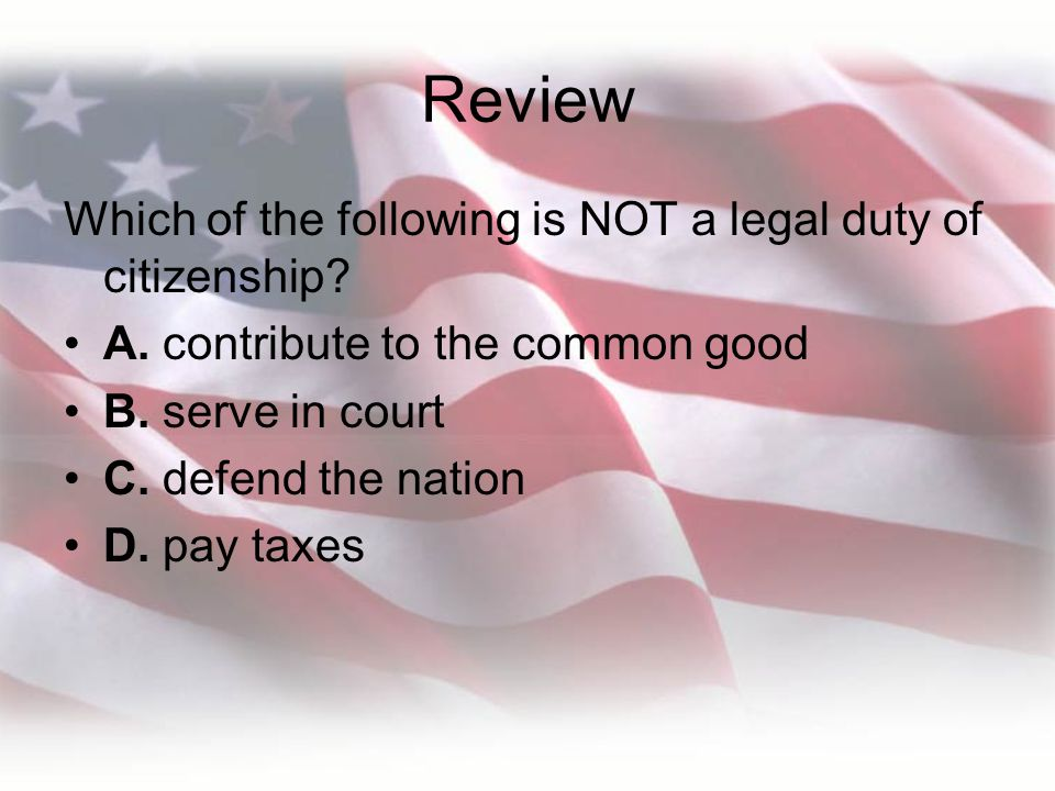 Review Which of the following is NOT a legal duty of citizenship