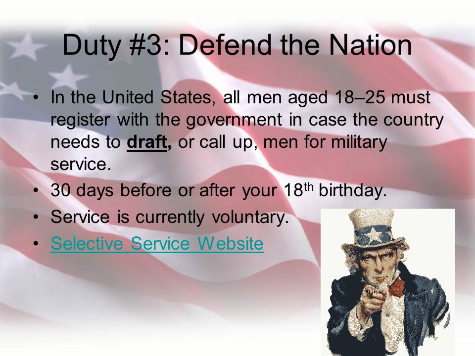 Duty #3: Defend the Nation