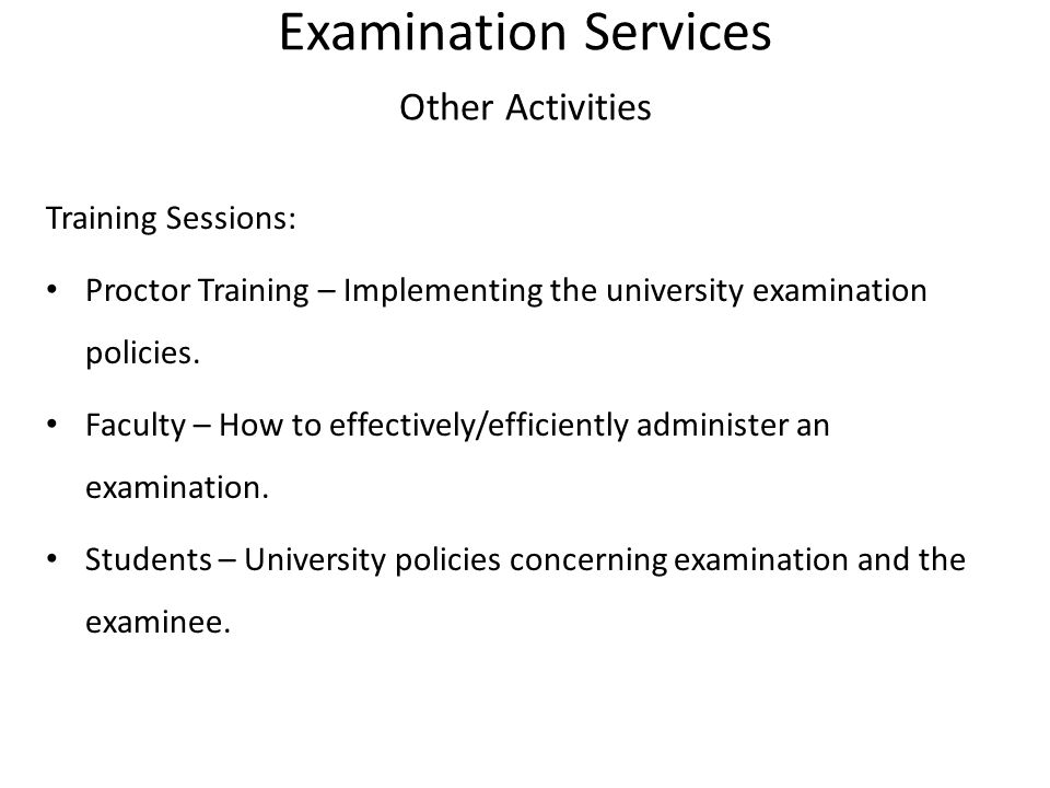 Examination Services Other Activities