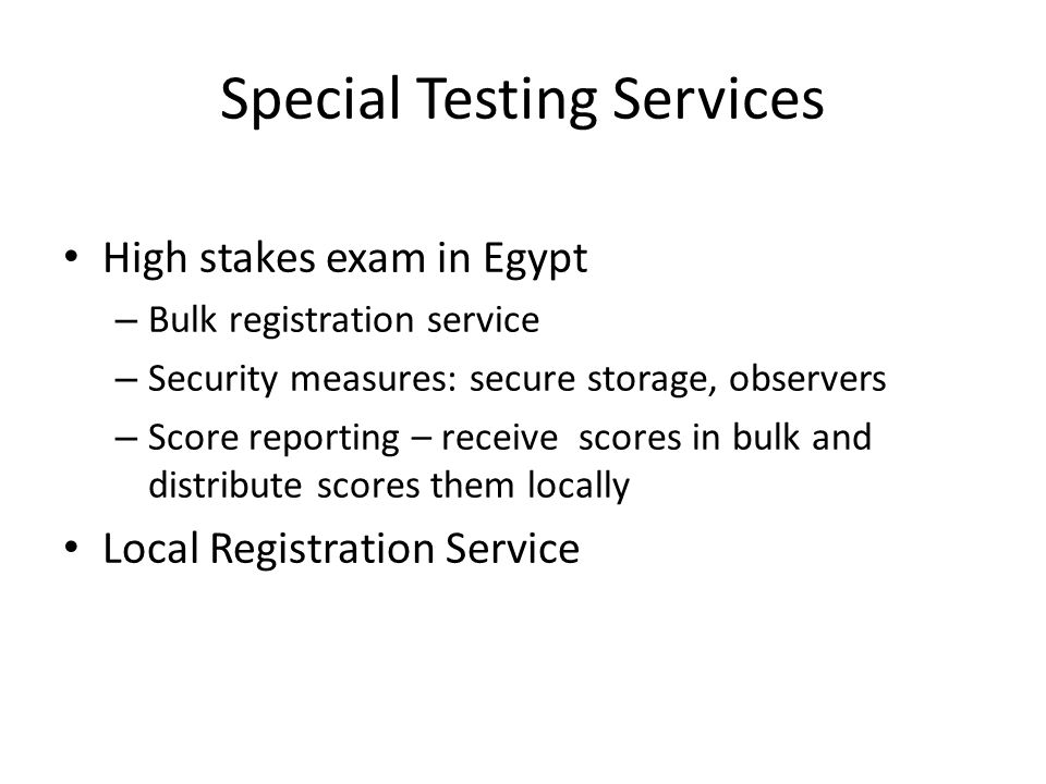 Special Testing Services