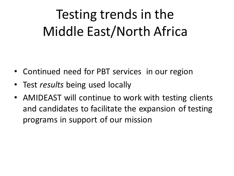 Testing trends in the Middle East/North Africa