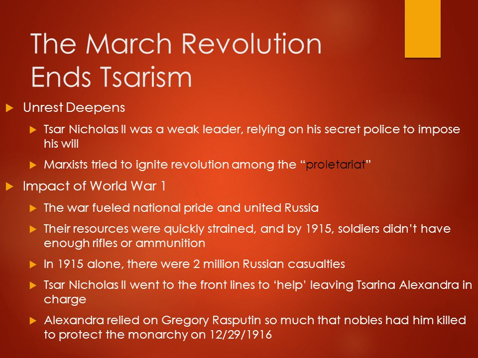 The March Revolution Ends Tsarism