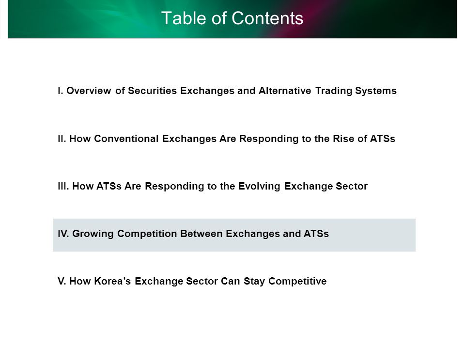 Fierce Competition Between Exchanges and ATSs