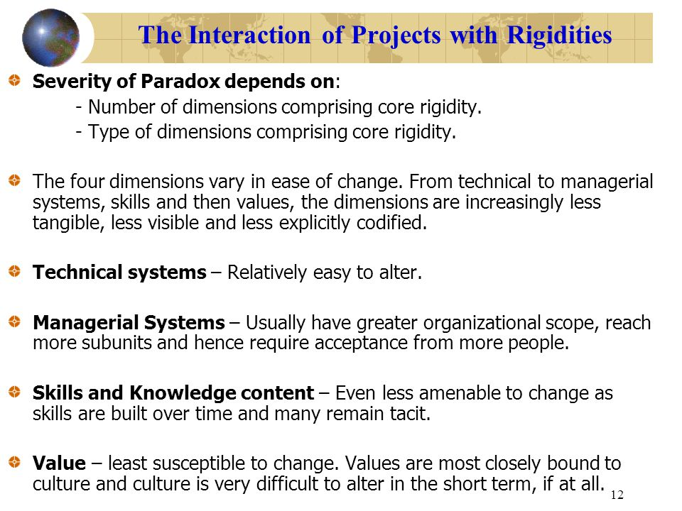 The Interaction of Projects with Rigidities