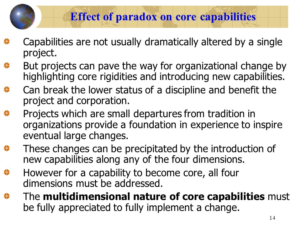 Effect of paradox on core capabilities