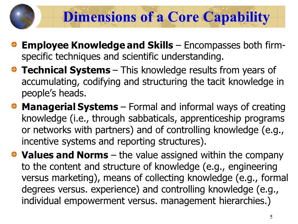 Dimensions of a Core Capability