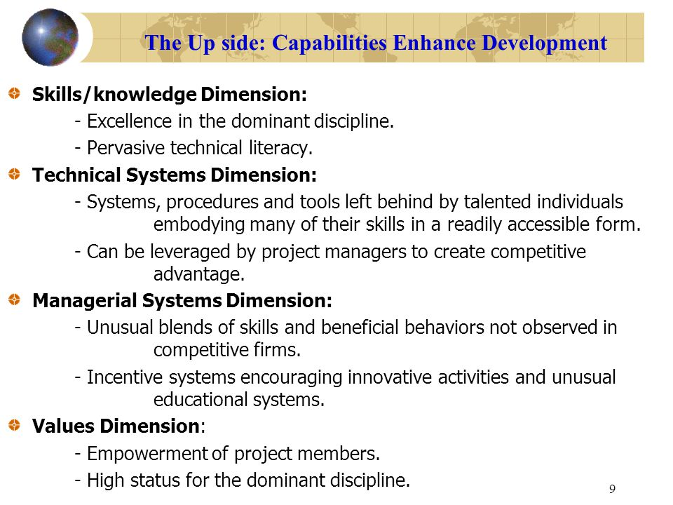 The Up side: Capabilities Enhance Development