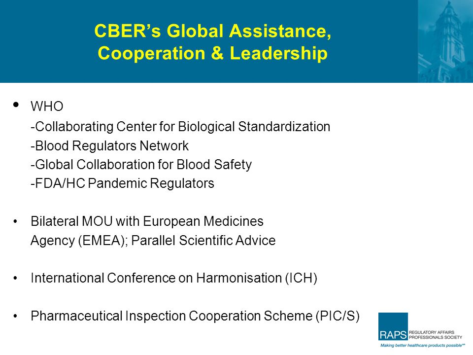 CBER's Global Assistance, Cooperation & Leadership