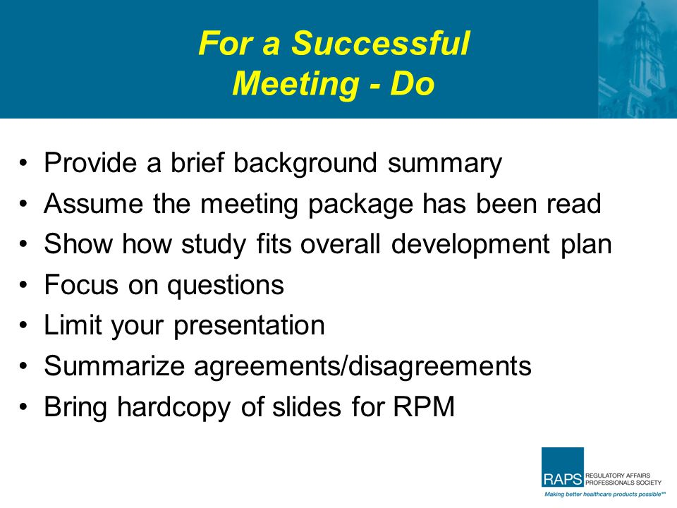 For a Successful Meeting - Do