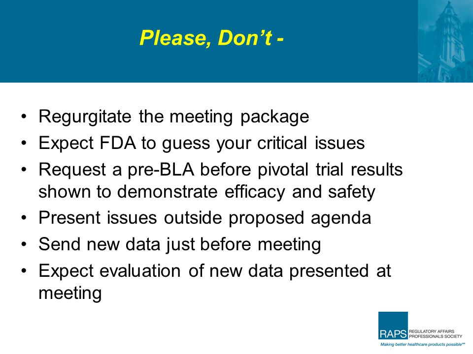 Please, Don't - Regurgitate the meeting package