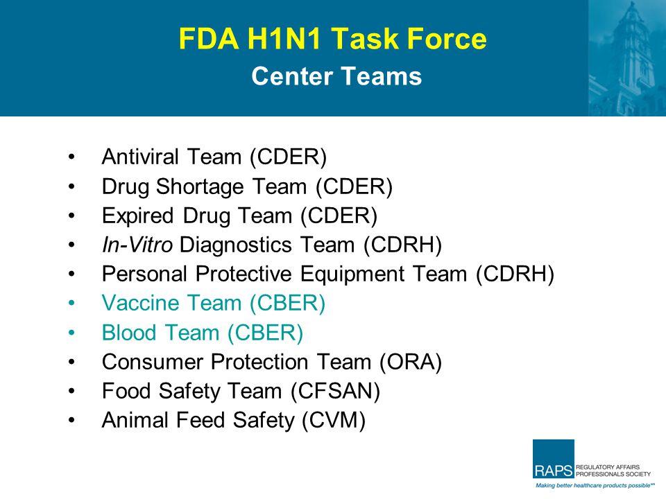 FDA H1N1 Task Force Center Teams