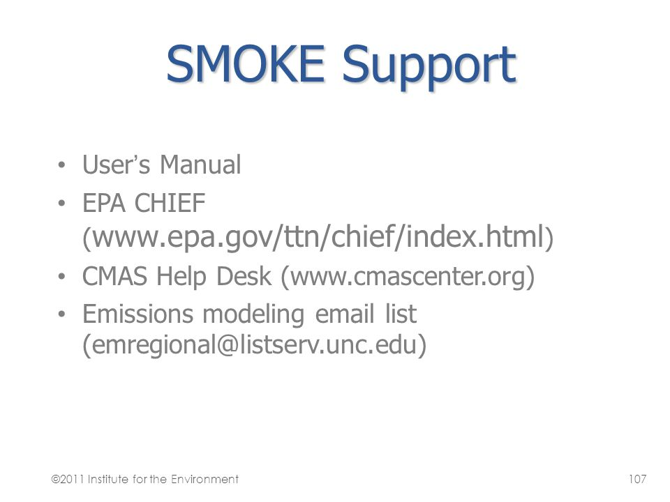 SMOKE Support User's Manual