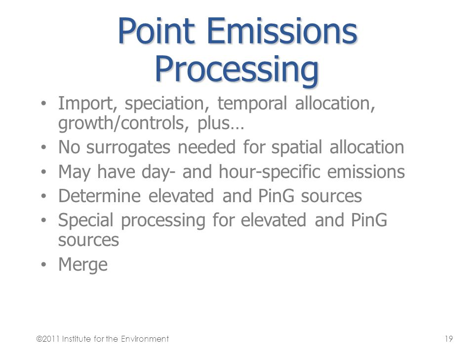 Point Emissions Processing