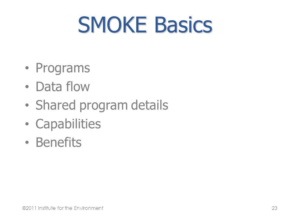 SMOKE Basics Programs Data flow Shared program details Capabilities