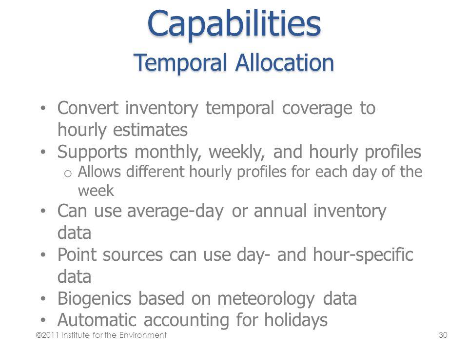 Capabilities Temporal Allocation