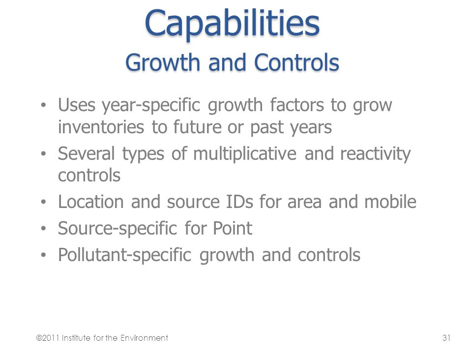 Capabilities Growth and Controls