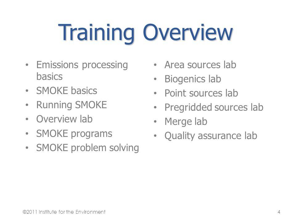 Training Overview Emissions processing basics SMOKE basics