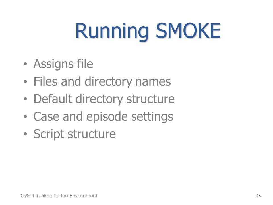 Running SMOKE Assigns file Files and directory names