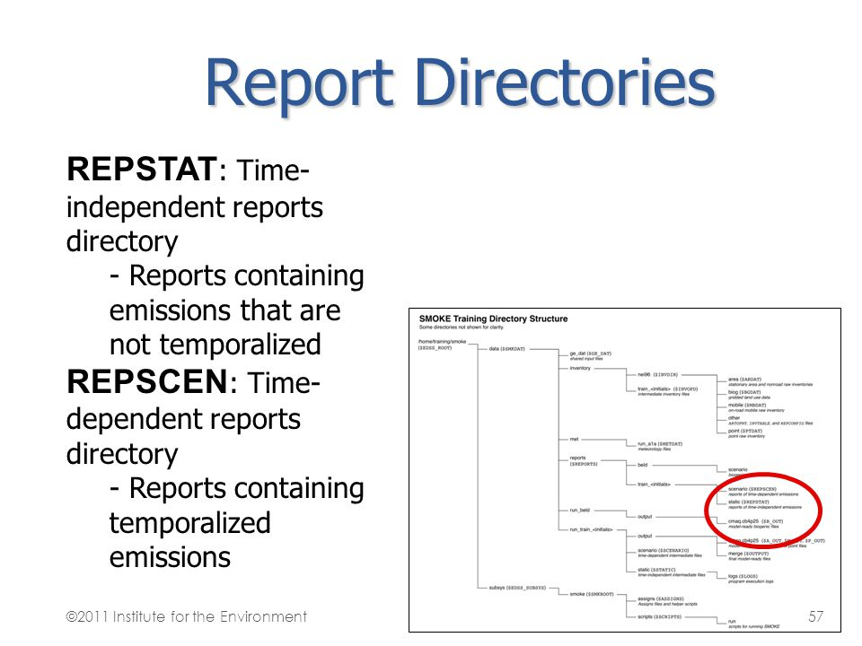 Report Directories REPSTAT: Time-independent reports directory