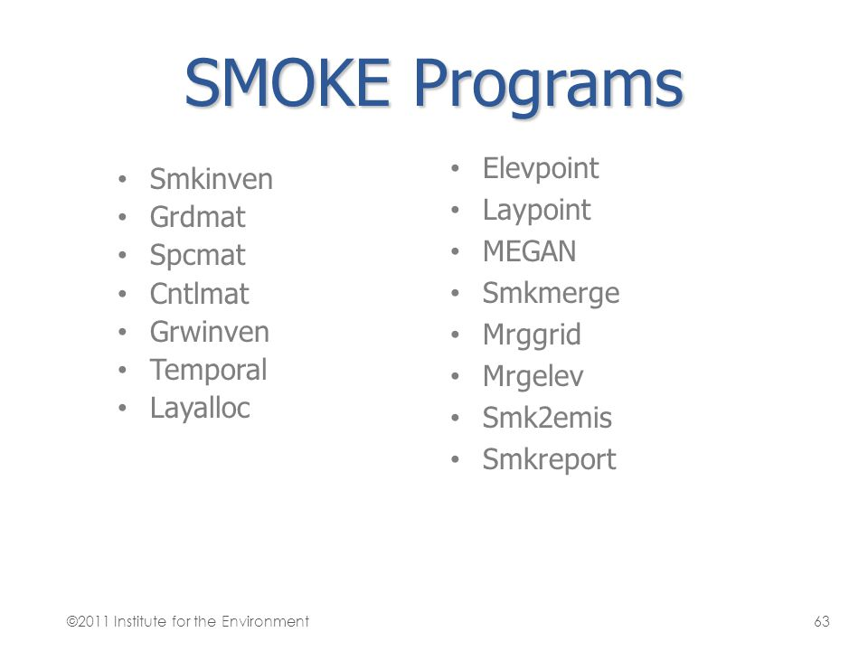 SMOKE Programs Elevpoint Smkinven Laypoint Grdmat MEGAN Spcmat