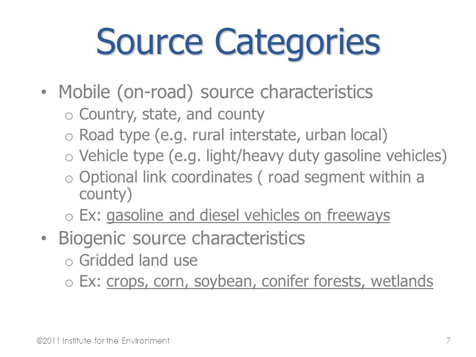 Source Categories Mobile (on-road) source characteristics