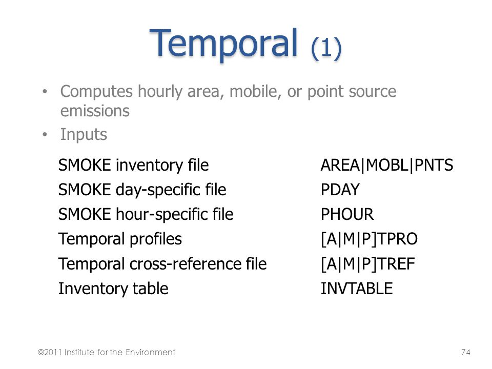 Temporal (1) Computes hourly area, mobile, or point source emissions