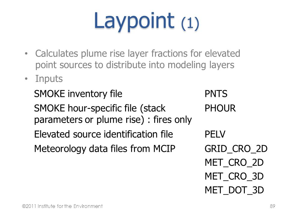 Laypoint (1) Calculates plume rise layer fractions for elevated point sources to distribute into modeling layers.
