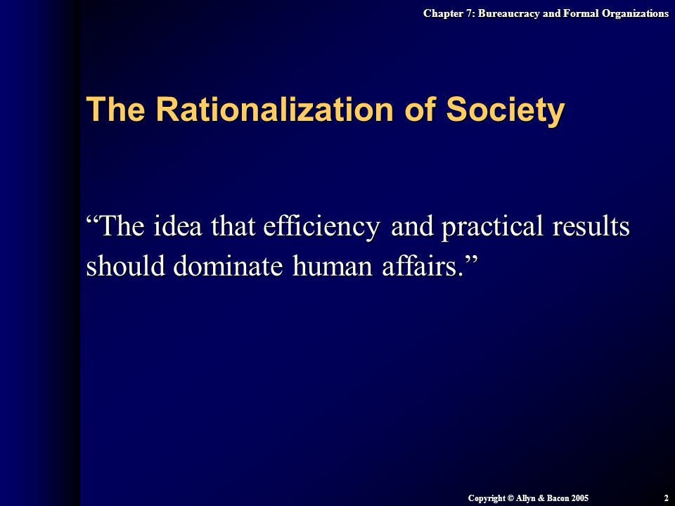 The Rationalization of Society