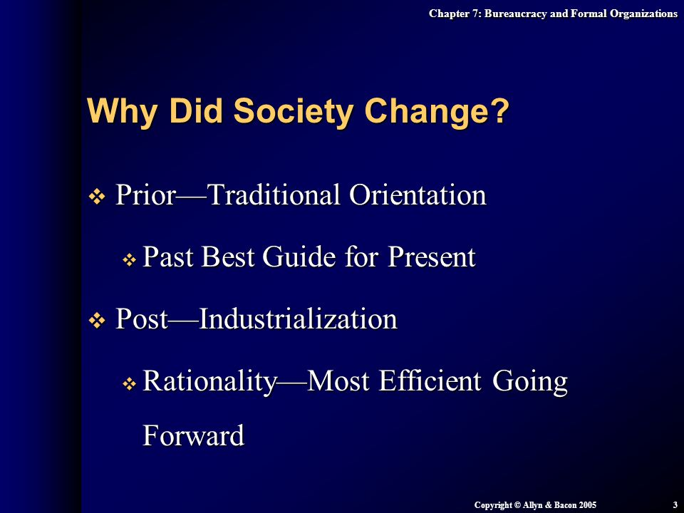 Why Did Society Change Prior—Traditional Orientation