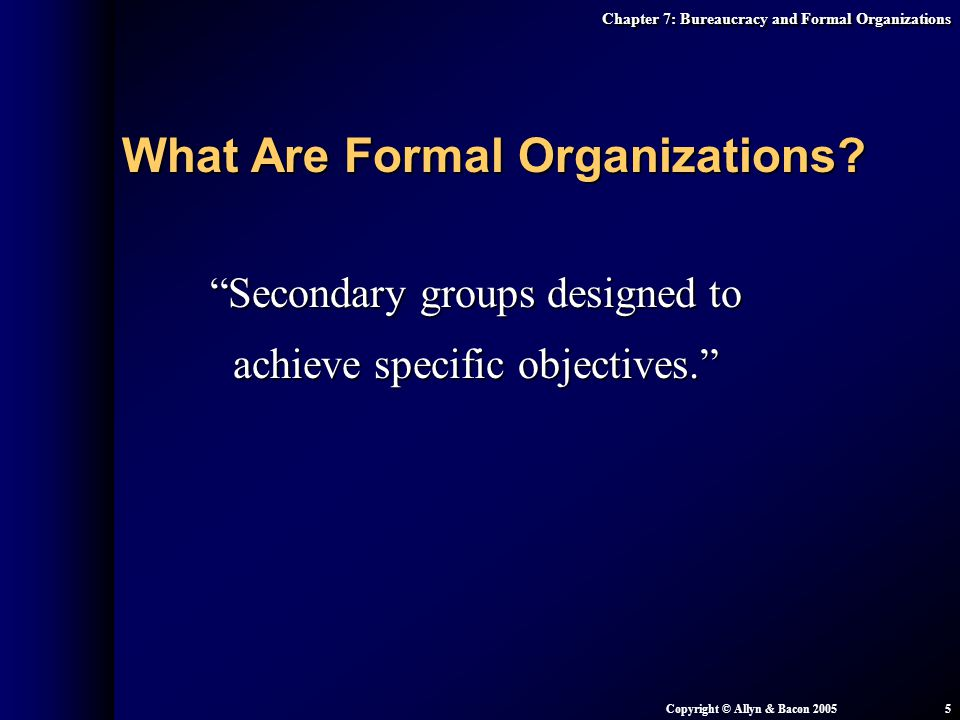Secondary groups designed to achieve specific objectives.
