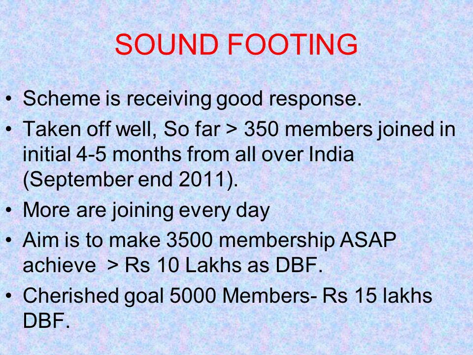 SOUND FOOTING Scheme is receiving good response.