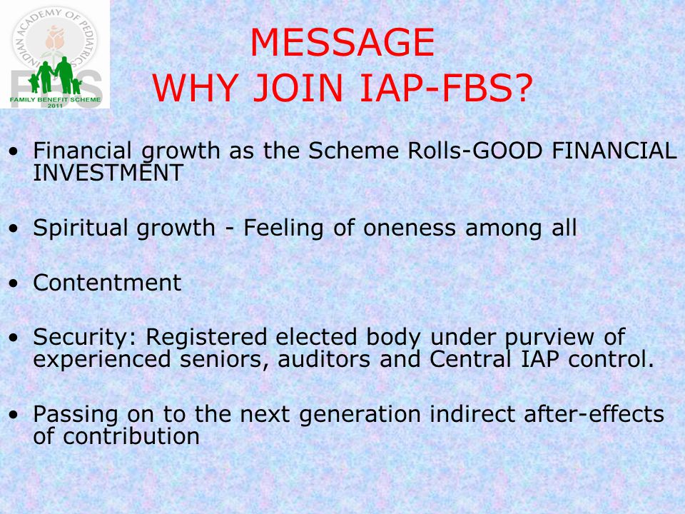 MESSAGE WHY JOIN IAP-FBS