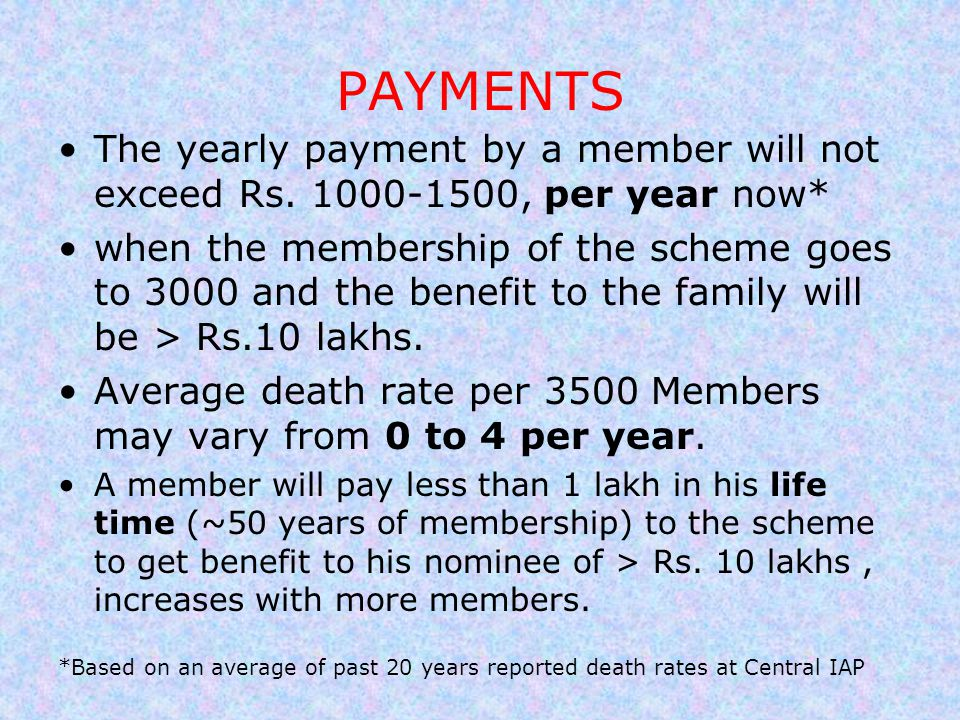 PAYMENTS The yearly payment by a member will not exceed Rs. 1000-1500, per year now*