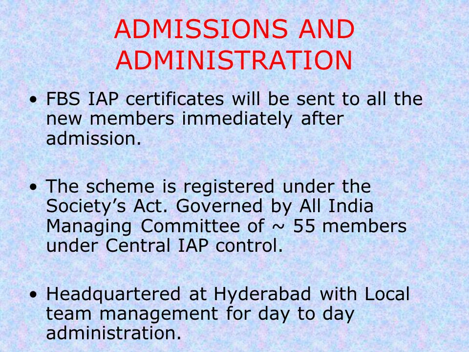 ADMISSIONS AND ADMINISTRATION