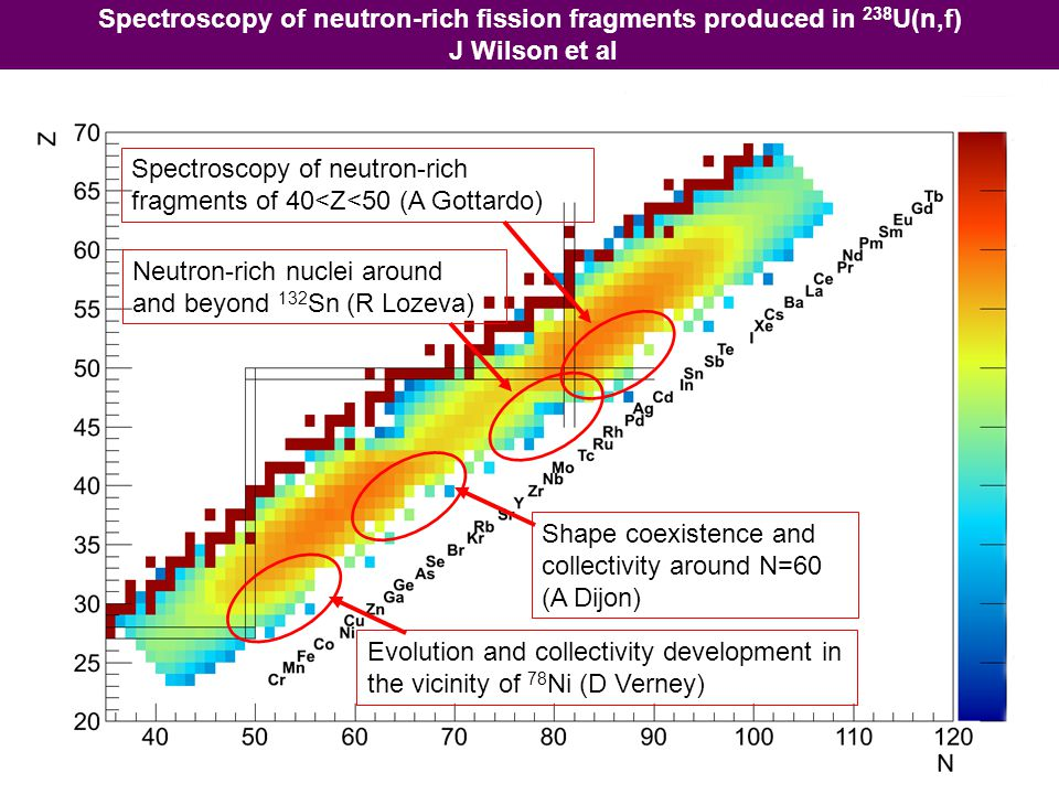 Spectroscopy of neutron-rich fission fragments produced in 238U(n,f)