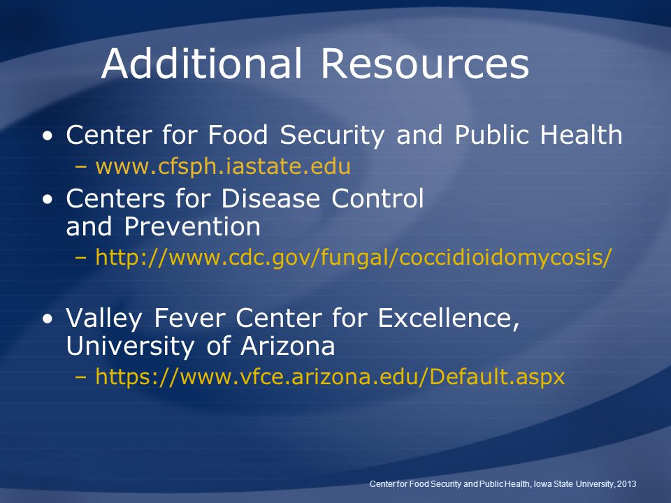 Additional Resources Center for Food Security and Public Health