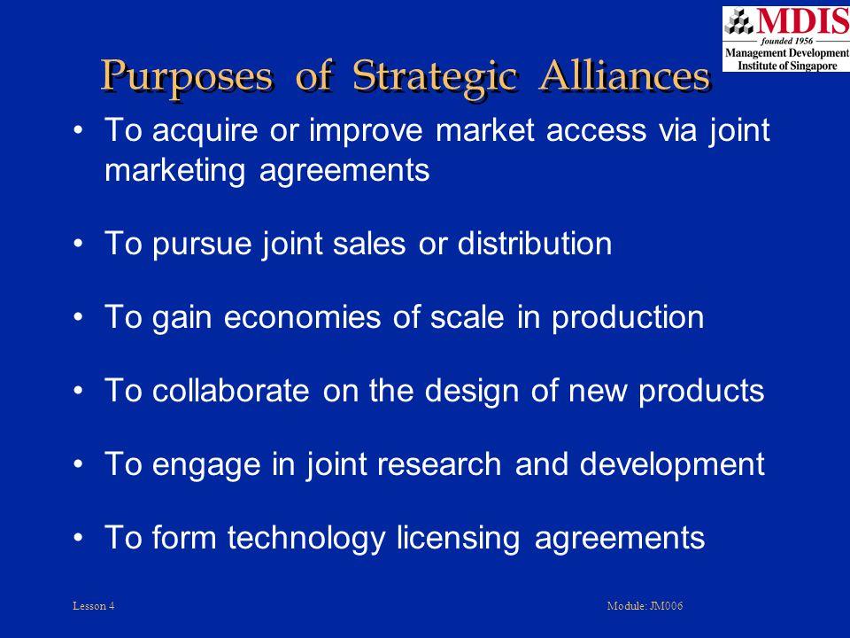 Purposes of Strategic Alliances