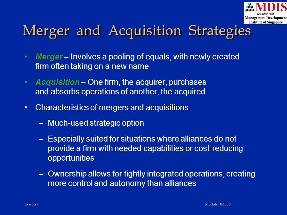 merger acquisition and international strategies Mergers and acquisitions and international strategies 1 running head: mergers and acquisitions  the acquisition of tropicana and.