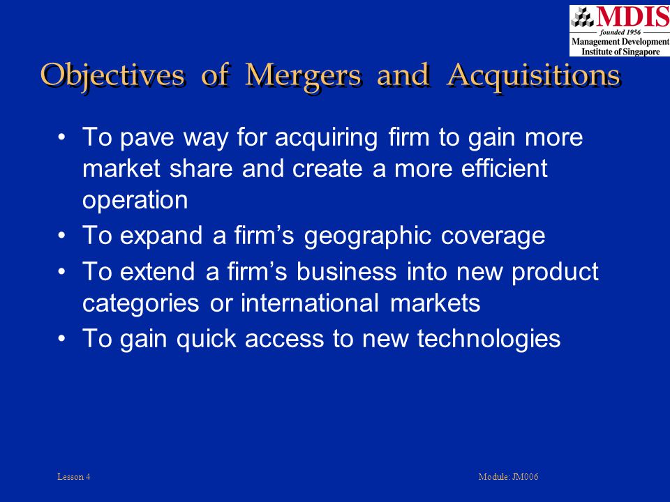 Objectives of Mergers and Acquisitions