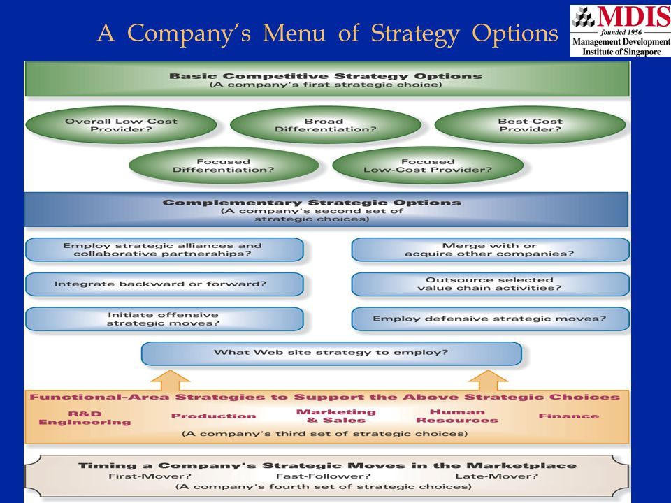 A Company's Menu of Strategy Options